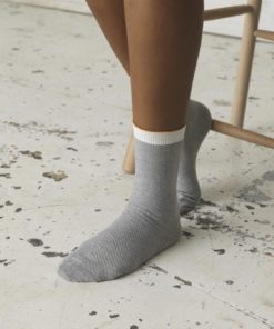 Dana Herringbone Frill Sock Light Grey