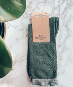 Dana Herringbone Frill Sock Army Green