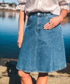 Steffi Heavy Indigo Skirt Worn Stone