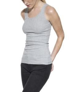 Tank Ribbed Grey Melange
