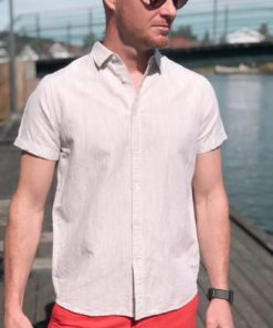 LARCH SS Linen Shirt Light Feather Grey