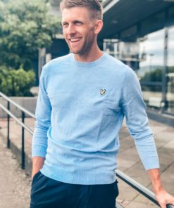 Cotton Merino Crew Jumper Pool Blue
