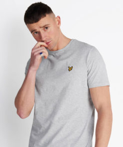 Plain Crew Neck T-Shirt Light Grey Marl