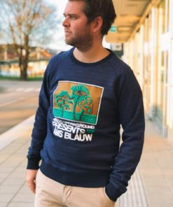 Crew Neck Sweat With Artworks Blue