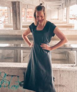 Dody Jersey Dip Dress Dark Charcoal