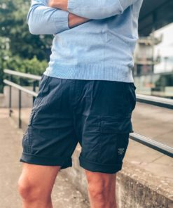 Stretch Cotton Cargo Shorts Blue