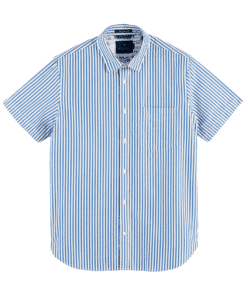 Structured Broadcloth Shortsleeve Shirt Regular Fit Blue/White