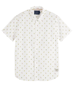 Short Sleeved Printed Shirt Regular Fit White