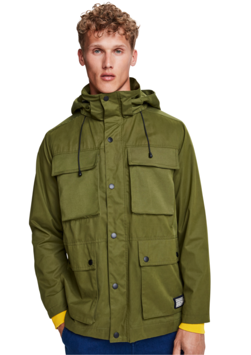 4 Pocket Military Jacket With Fabric Mix Green