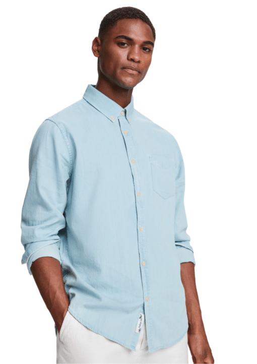 Organic Cotton Long Sleeve Denim Shirt Bleached Indigo