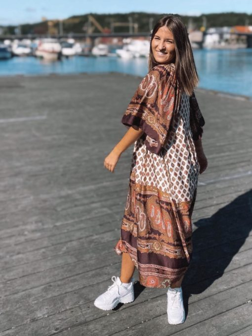 Autumn Drape Paisley Kaftan Dress