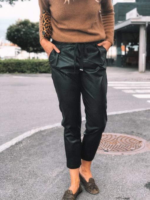 Milan Vegan Leather Pants Black