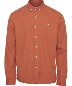 ELDER Regular Fit Melange Flannel Shirt Persimmon Orange