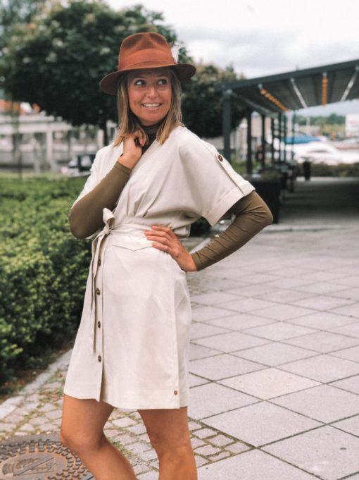 Drapey Safari Dress Beige