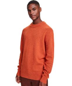 Classic Wool-Blend Crewneck Pullover Outdoor Orange Melange