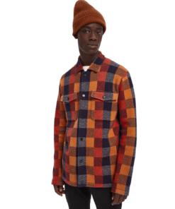 Jacquard Check Knit Worker Shirt Jacket