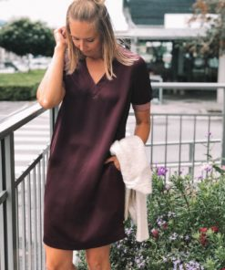 V-Neck Dress with Ribs Burgund