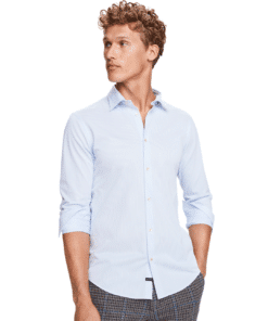 Classic Slim Fit Knitted Shirt Blue