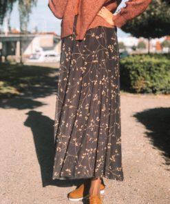 Consuela Skirt Black Leafy Twig