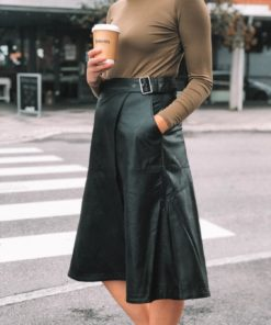 Gwen Vegan Leather Skirt Black