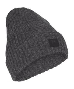 LEAF Rib Organic Wool Beanie Dark Grey Melange