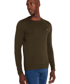 Cotton Merino Crew Jumper Trek Green