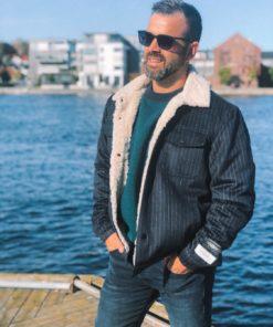 Sherpa-Lined Wool-Blend Trucker Jacket Blue