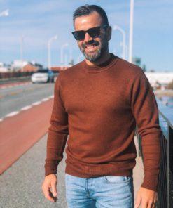 Soft Knit Crewneck Pullover Russet Melange
