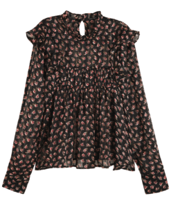 Printed Floral Top in Drapey Quality Black