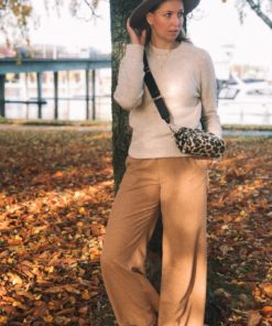 Clean Wool Wide Leg Pants Beige Mel