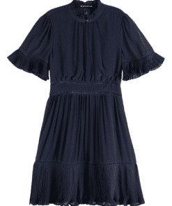 Feminine Viscose Dress Dark Navy