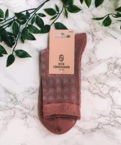 Houndstooth Sora Sock Dusty Cedar