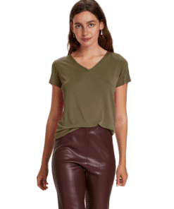 Columbine V-Neck T-Shirt Military Olive
