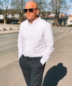 Jay Long Sleeved Shirt White/Metal Grey