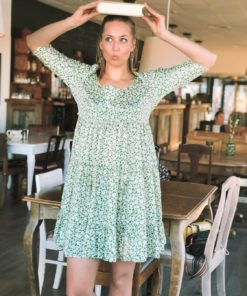 Delicate Tieband Dress Green Garden