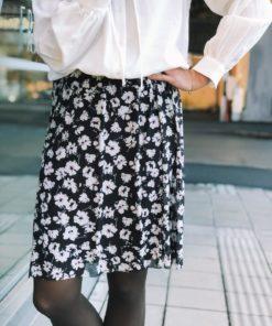 Poppie Skirt Black Flower Print