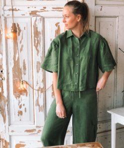 Short Sleeve Shirt in Linen Blend Moss Green