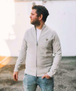 Knitted Zip Through Light Grey Marl