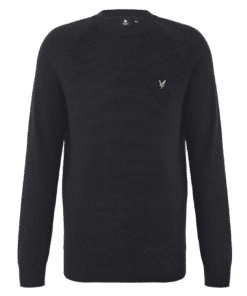 Raglan Texture Knitted Jumper Dark Navy Marl