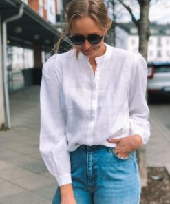 Linen Blouse White with Yellow Dots