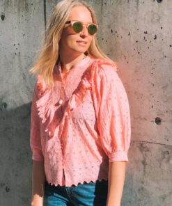 Broderie Anglaise Shirt Pink