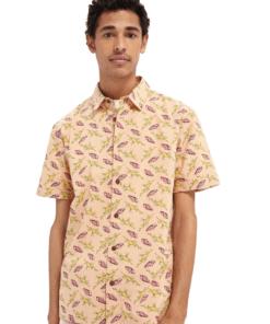 Printed Short Sleeve Hawaiian Shirt Melon