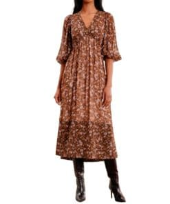 Georgette V-Neck Dress Blomstrete Kjole