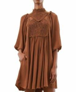 Elegant Lace Shift Dress Brun Kjole