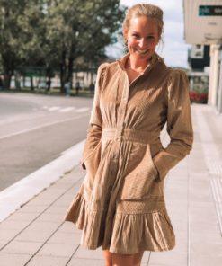 Corduroy Mini Dress Beige Kjole